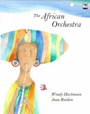 "Book cover for ""The African Orchestra"" depicting a woman playing a wind instrument"