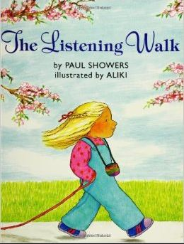 "A girl holding a leash walks along a sidewalk: ""The Listening Walk"" by Paul Showers, illustrated by Aliki"