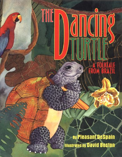Book cover depicting a dancing turtle and a parrot