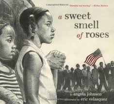 """A sweet smell of roses"" book cover depicting two children watching people march past carrying an American flag"