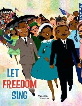 """Let Freedom Sing"" book cover depicting African Americans marching"