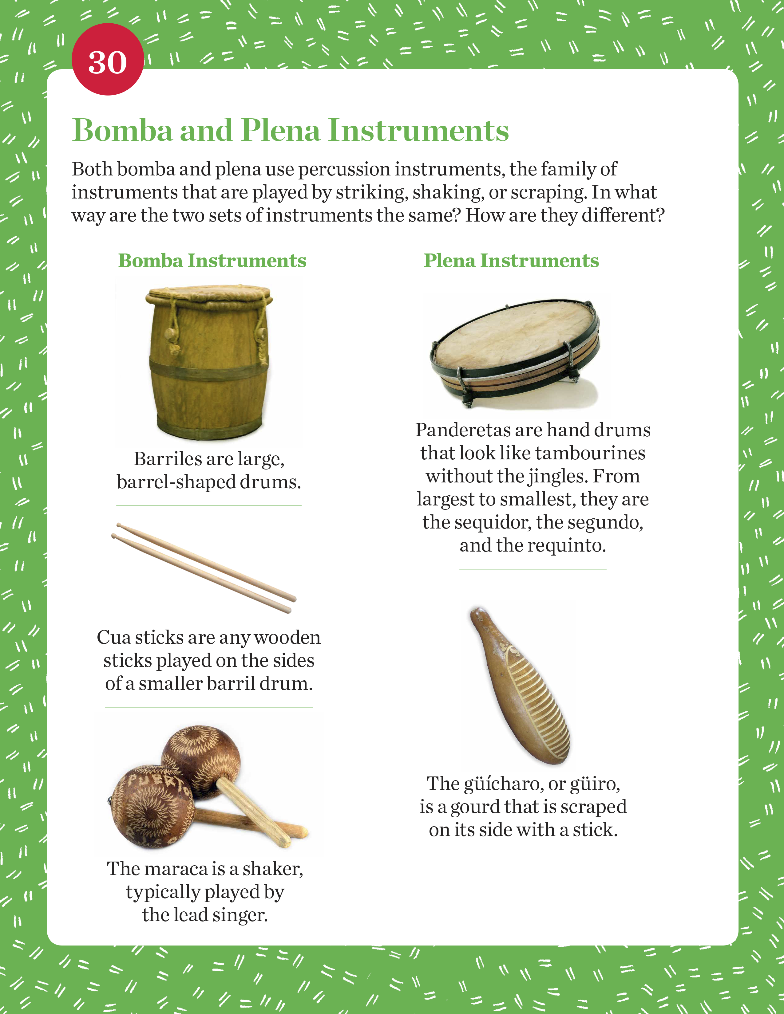 Bomba and Plena Instruments