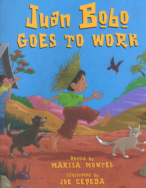 "Book cover for ""Juan Bobo Goes to Work"" depicting a young boy walking with a dog and cat"