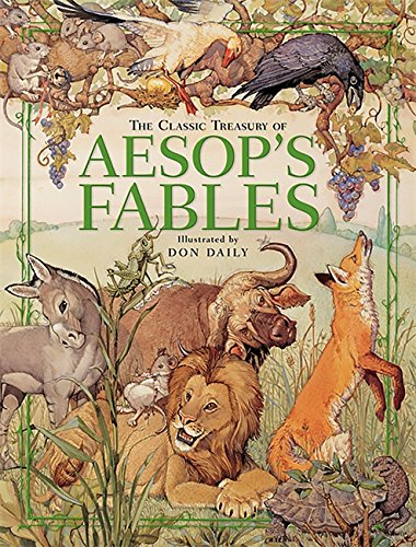 "Cover of ""Aesop's Fables"" depicting a donkey, grasshopper, mouse, lion, bull, fox, and turtle, among other animals"