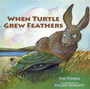 "Book cover for ""When Turtle Grew Feathers"" depicting a turtle and a hare"