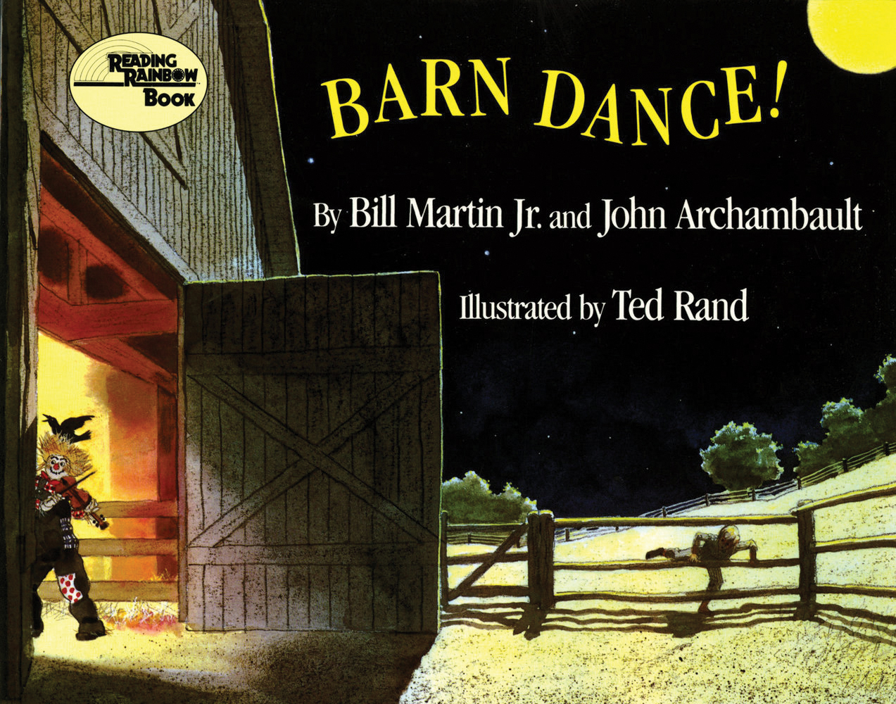 "Cover art for ""Barn Dance!"" depicting a scarecrow with a crow on its head entering a barn"