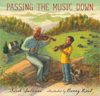 "Cover art for ""Passing It Down"" depicting an older man and a young boy playing fiddle together in the countryside"