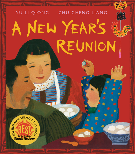 "Book cover for ""A New Year's Reunion"" depicting a father, mother, and child sitting at a table together"