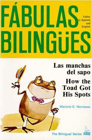 Book cover for Las Manchas Del Sapo depicting a bow-tied frog holding a straw hat and cane
