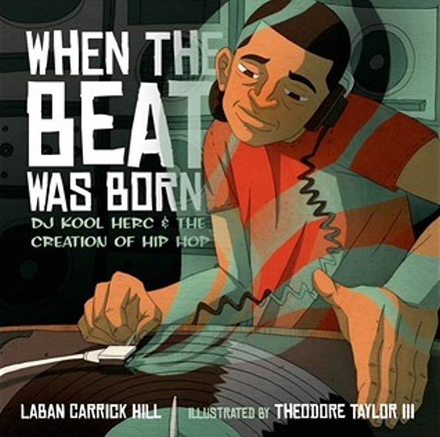 "Book cover for ""When the Beat Was Born"" depicting a deejay spinning a record"