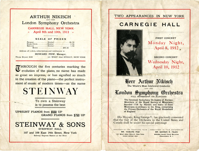 London Symphony Orchestra Carnegie Hall Flyer
