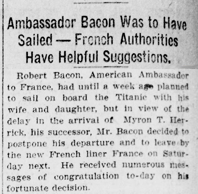 NY Tribune Robert Bacon Article