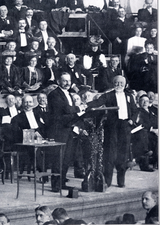 Andrew Carnegie and Paul Henri Benjamin Balluet, 1907 Peace Congress
