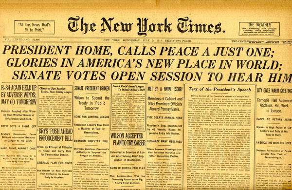 Woodrow Wilson New York Times Versaille