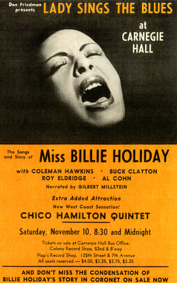Holiday Billie 1956 Concert Flyer