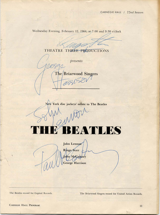 Beatles 1964 Autographed Program with Incorrect Name for McCartney