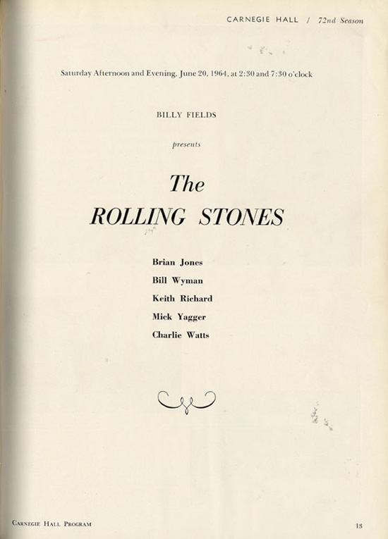 Stones 1964 Program with Incorrect Names for Jagger and Richards