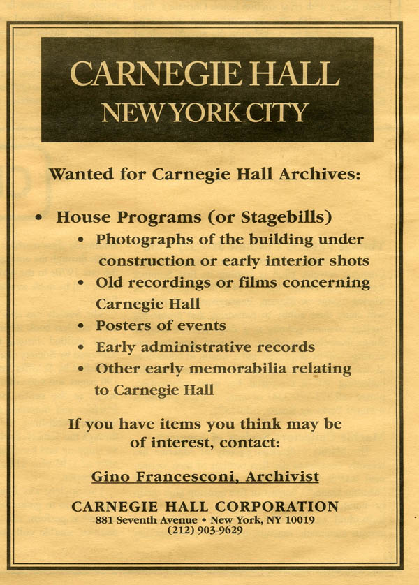 Archives 1987 Wanted Advertisement