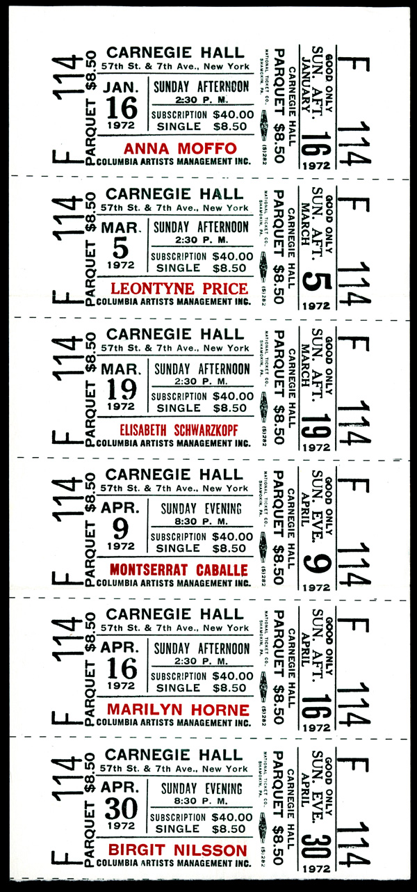 Carnegie Hall Treasures: 1972 Sporanos Series