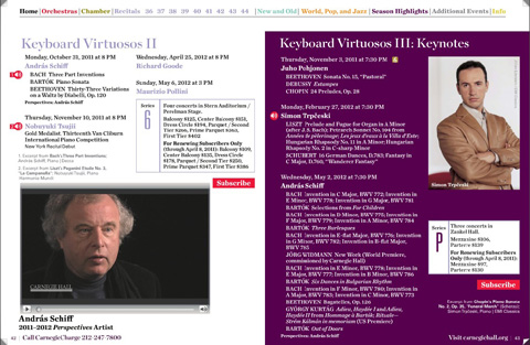 Carnegie Hall's 2011-2012 Digital Subscription Brochure