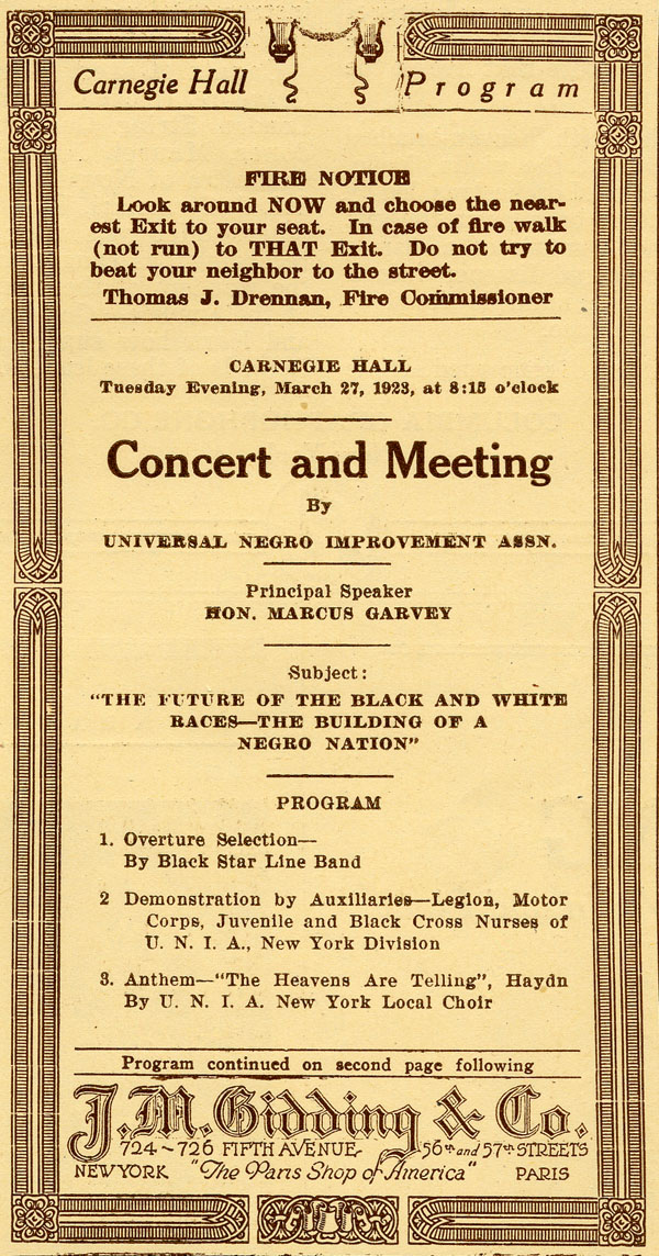 Garvey Marcus 1923 Flyer
