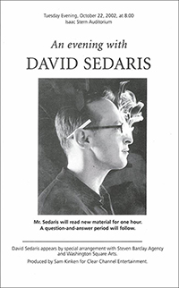Sedaris Playbill 315