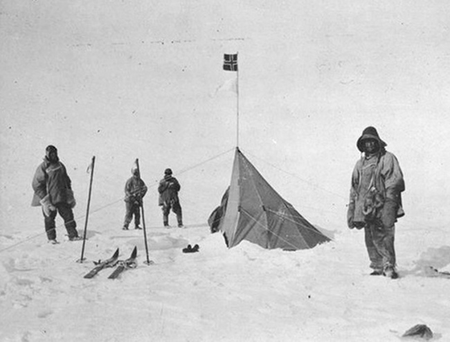 Scott's team at Amundsen's tent, South Pole