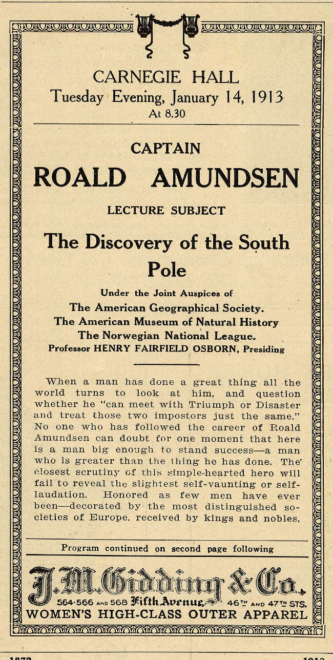 Roald Amundsen Carnegie Hall Program