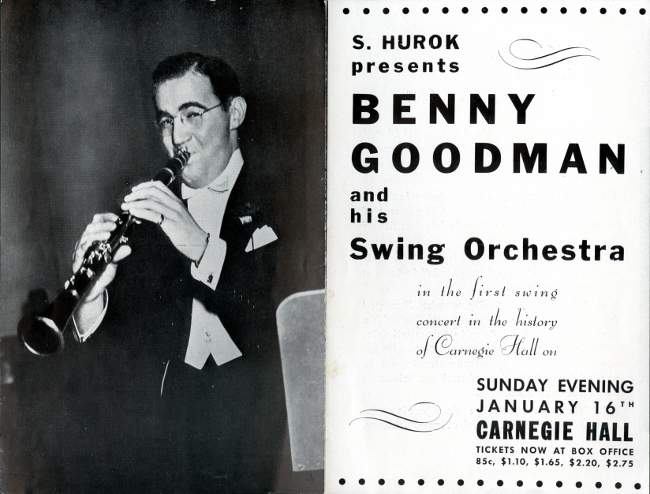 Benny Goodman Orchestra 1938 Concert Flyer Back and Front