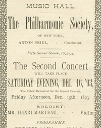Carnegie Hall program advertisement for the world premiere performance Dvorák's Symphony No. 9 in E Minor, Op. 95.