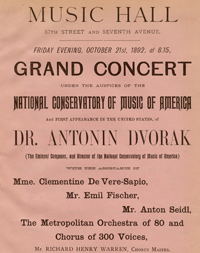Flyer advertising the U.S. debut of Antonín Dvořák, October 21, 1892.