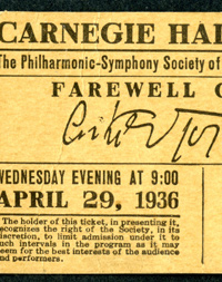 Ticket for Arturo Toscanini's farewell appearance with the New York Philharmonic