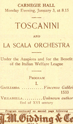 Program for Arturo Toscanini's Carnegie Hall debut, 1921.