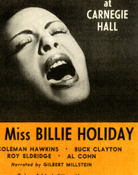 "Flyer advertising Billie Holiday's November 10, 1956 concert titled ""Lady Sings the Blues."""