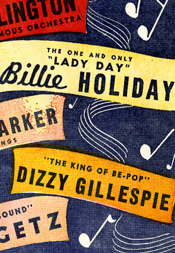 Flyer advertising a Carnegie Hall jazz concert featuring Duke Ellington and His Orchestra, Billie Holiday, Charlie Parker and His Strings, Dizzy Gillespie, Stan Getz, and the Ahmad Jamal Trio, November 14, 1952.