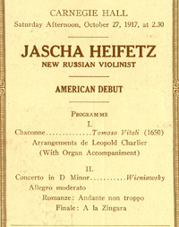 Program from Jascha Heifetz's American debut, 1917