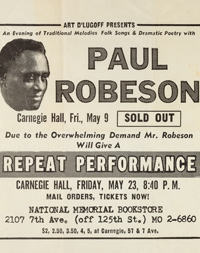Flyer for Paul Robeson's Carnegie Hall debut, 1929.
