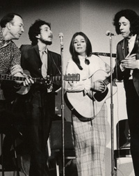 Pete Seeger, Bob Dylan, Judy Collins and Arlo Guthrie, 1968.