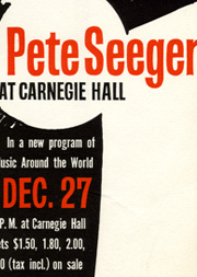 Flyer for Pete Seeger concert, 1958