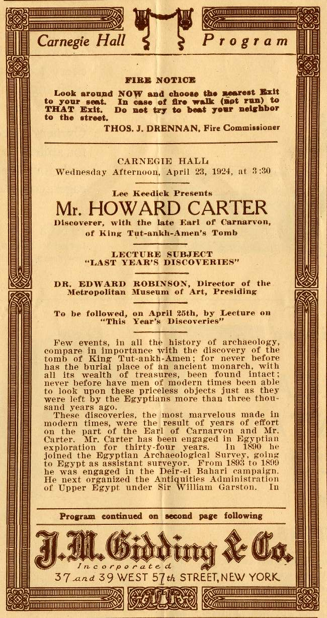 Howard Carter Carnegie Hall Lecture April 23, 1924 Program Page 1