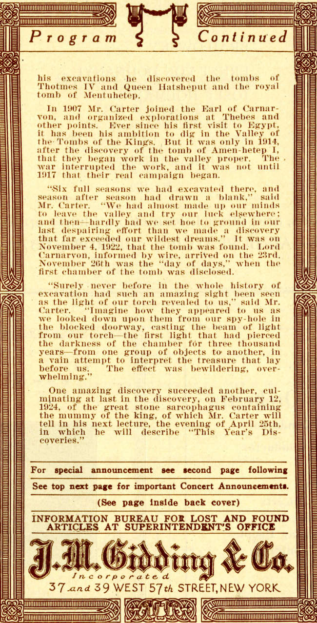 Howard Carter Carnegie Hall Lecture April 23, 1924 Program Page 2