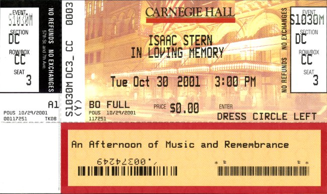 Isaac Stern memorial ticket