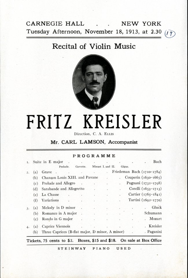 Kreisler Carnegie Hall flyer
