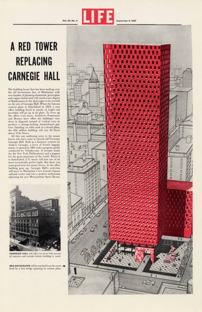 1957 Carnegie Hall Replacement Red Skyscraper