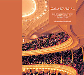 Gala Journal Cover commemorating the Opening Night of Carnegie Hall's 119th Season