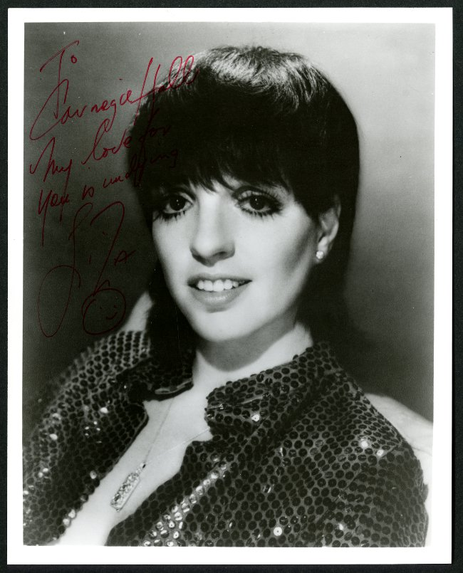Autographed Liza Minnelli Carnegie Hall Headshot